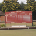 bowls green and scoreboard
